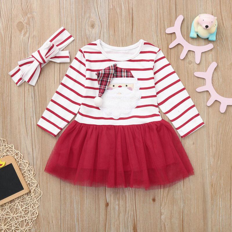 Kids Baby Girls Cartoon Princess Christmas Striped Tutu Tull