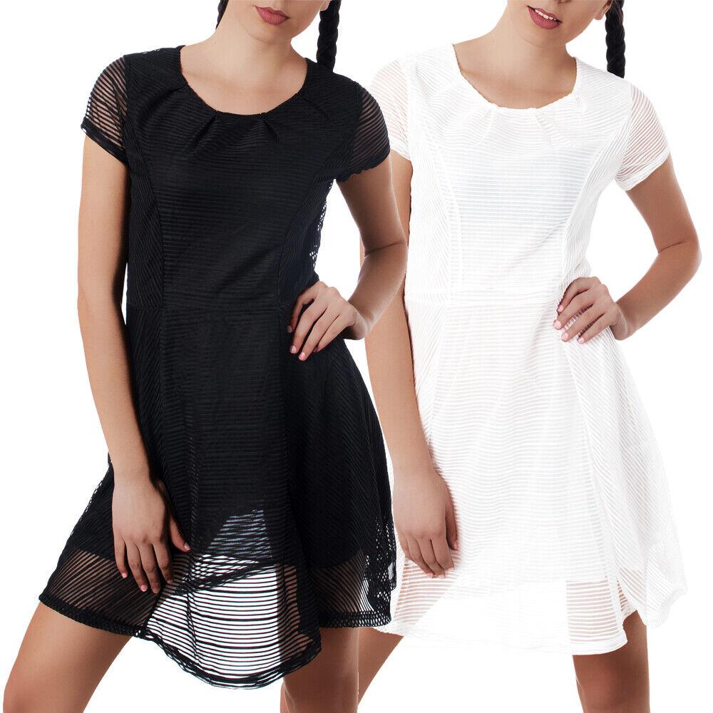 Damen Kleid Kleider Cocktailkleid Sommerkleid Abendkleid Kurzarm Chiffon N853