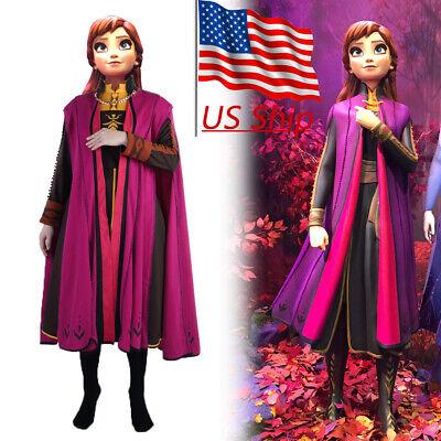 Anna Costume Adult (Cosplay Frozen 2 Princess Anna Costume Adult Full Set Halloween Fancy Dress)