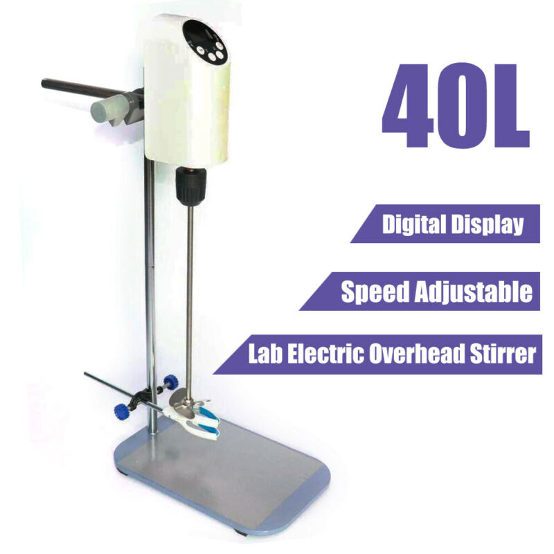 40L Lab Electric Overhead Stirrer Mixer Agitator Homogenizer w/ Digital Display
