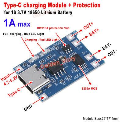 5v 1a Type-c 3.7v 4.2v Lithium Li-ion Lipo Battery Charger Module Charging Board