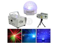 Home disco kit, 100 music sensitive settings, laser and smoke machine
