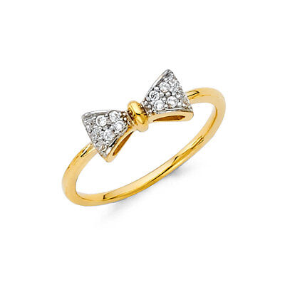 Women 14k Yellow White Gold CZ Bow Tie Fashion Fancy Promise Ring Band