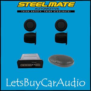 STEELMATE EBAT PTSC1 MATT BLACK REAR PARKING SENSOR KIT (WITH 4 SENSORS)