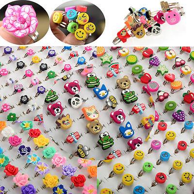 10/100pcs Wholesale Lots Bulk Mixed Polymer Clay Children Kids Boys Finger Rings
