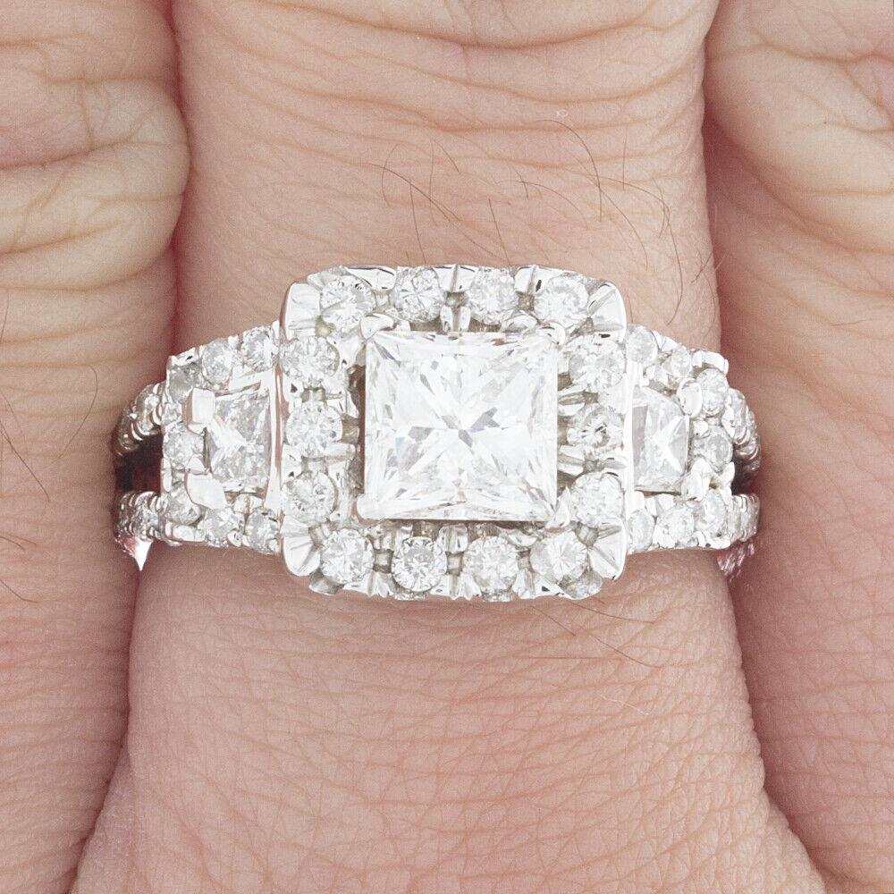 GIA Certified Diamond Engagement Halo Ring 2 CTW Princess Cut 18k White Gold