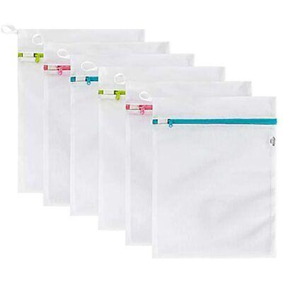 TENRAI Mesh Laundry Bags 6 Packs (Medium 16 X 12 Inch) Wash Colorful Zipper For