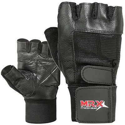 - Weight Lifting Gym Gloves Fitness Training Workout Leather Exercise Black MRX