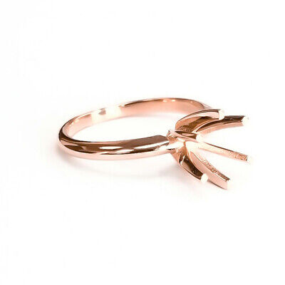 14K ROSE GOLD CLASSIC SIMPLE DIAMOND ENGAGEMENT RING SOLITAIRE SETTING WOMEN