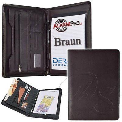 Dermata 2645 P Braun LEDER Optik Schreibmappe Dokumenten Konferenz Mappe DIN A4