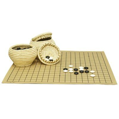 - Go Game Double Convex Plastic Stones and Grass Knitted Holder Bowls Set WXT0113