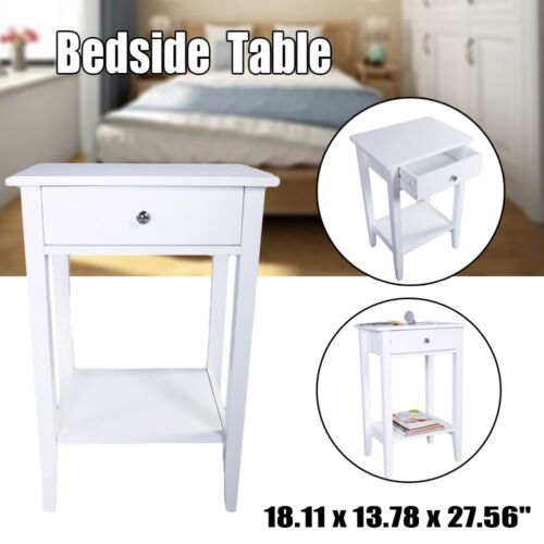 Nightstand End/Side Bedside Table Cabinet With Drawers Wood