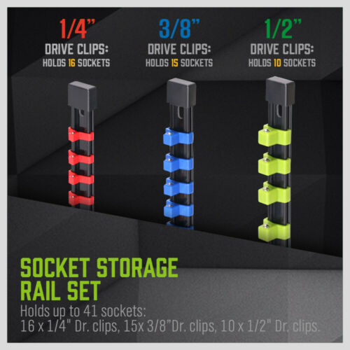 Owner 3PC Socket Organizer Mountable Sliding Holder Rail Rack Tool Storage 1/4 3/8 1/2