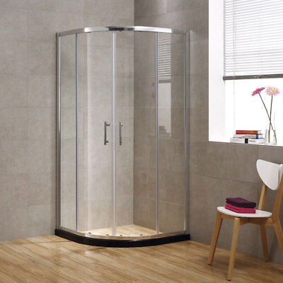 SEESUU Glassware Corner Sliding Shower Door Quadrant Walls in Enclosure Shower Units