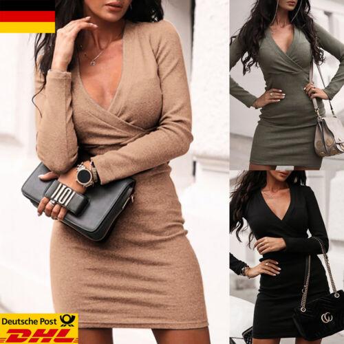 DE Damen Langarm Minikleid V-Neck Wickelkleid Freizeit Partykleid Sexy Clubwear