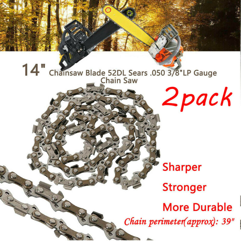 """2 14"""" Chicago Electric Chainsaw Saw Chain Blade 67255 3/8""""LP .050 Gauge 52DL S52"""