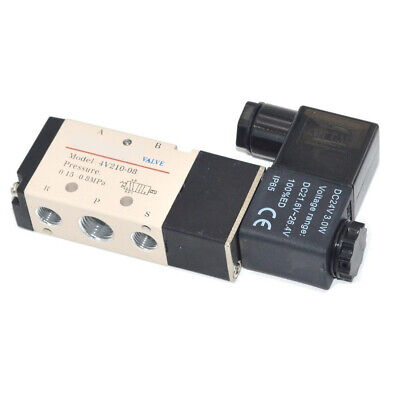 Us Stock Dc 24v Pneumatic Electric Solenoid Air Valve 5 Way 2 Position 4v210-08