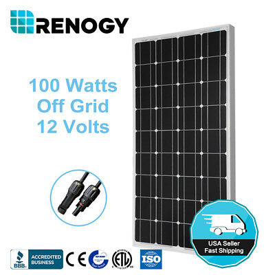 Renogy Best Seller 100 Watt 100W Mono Solar Panel 12V Off Grid Battery Charger