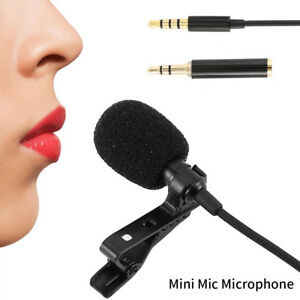 Mini Mic 3.5mm Omnidirectional Tie Clip on Lapel Lavalier Microphone Stereo