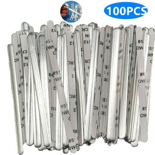 100 pcs Aluminum Metal Nose Bridge Ties Wires Clips Bendable Adhesive Back Craft Crafts