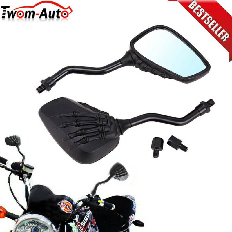 Motorcycle Skeleton Skull Hand Claw Side Rear View Mirrors 8mm 10mm Cafe Racer