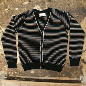 NEW-Maison-Martin-Margiela-Black-White-Striped-Cardigan-GENUINE-Size-L