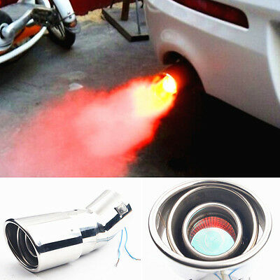 Spitfire Car LED Exhaust Pipe Red Light Flaming Muffler Tip Universal
