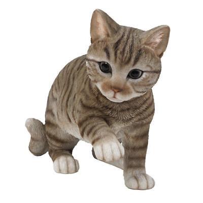 Grey Tabby Cat Kitten Figurine Glass Eyes Life Size Short Hair Figurine