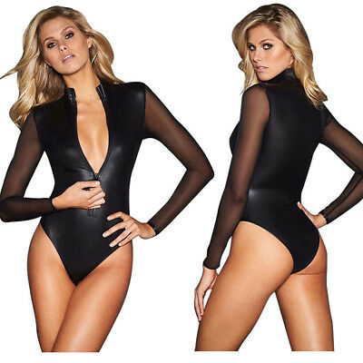 Leather Clothing Woman Lingerie Nightdress Catwoman Patent Bodysuit Outfit Black - Black Catwoman Bodysuit
