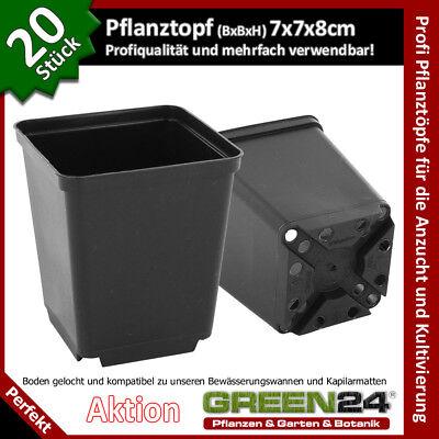 20 Pflanztöpfe 7x7x8 für Anzucht, Pikieren, Pflanzen Topf der Profis A-Qualität!