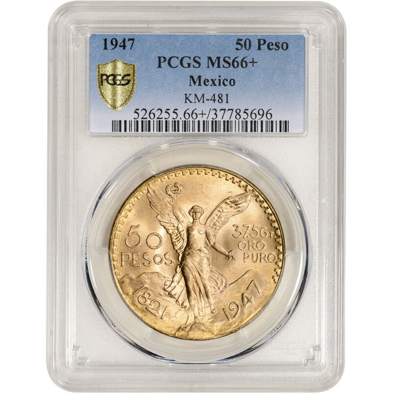1947 Mexico Gold 50 Pesos Restrike - PCGS MS66+ KM# 481