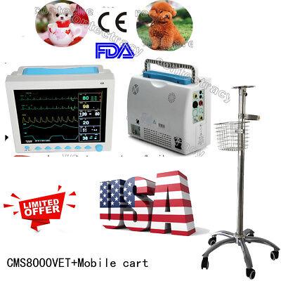 Veterinary Vital Sign Portable Patient Monitor Ecgnibpprspo2tempfree Cart