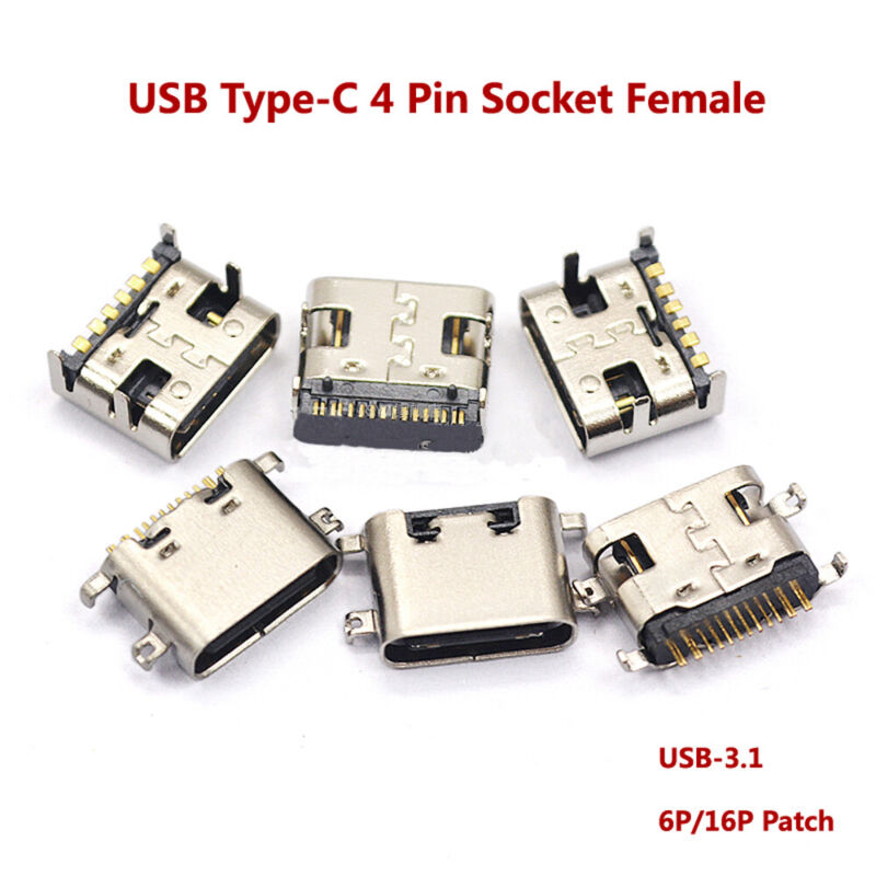 USB Type-C 4 Pin Socket Female Port USB-3.1 6P/16P Patch Fast Charging Connector