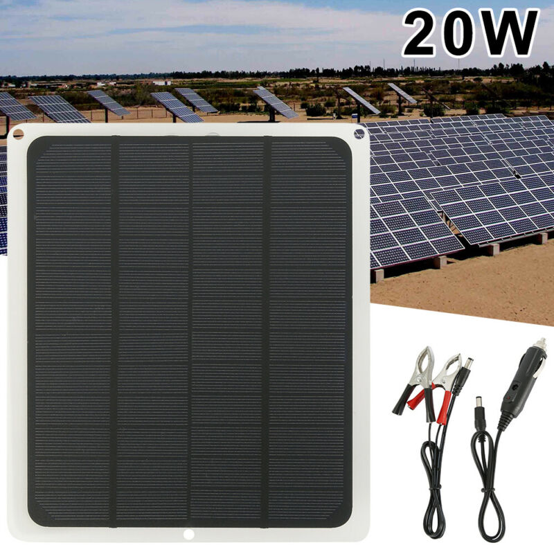 Solar Panel 12V Battery Charger System Maintainer Marine Boa
