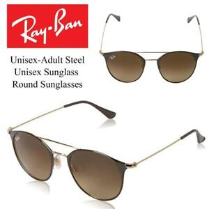 NEW Ray-Ban Unisex-Adult Steel Unisex Sunglass 0RB3546 Round Sunglasses Condtion: New, 52 mm, Gold Top Brown