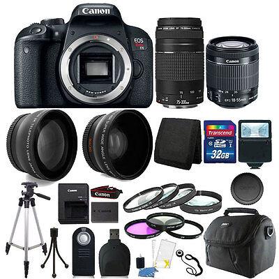 Canon EOS Rebel T7i DSLR + 18-55 STM + EF 75-300mm Lens + 32GB Addition Bundle