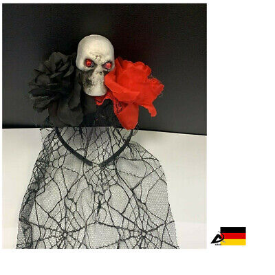 Tag der Toten Haarreif Haarschmuck Totenkopf Schleier Rosen dead ABAV