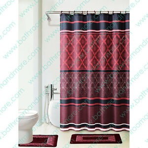 burgundy black bath set 2 bath mat rugs shower curtain fabric rings ebay. Black Bedroom Furniture Sets. Home Design Ideas