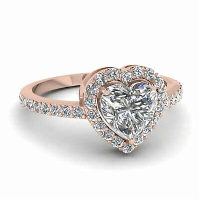 Heart Shaped 3/4 Ct Halo Diamond Engagement Rings 14K Rose Gold GIA Certified