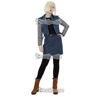 Dragon Ball Android 18 Cosplay Costume Women Denim Vest Skirt