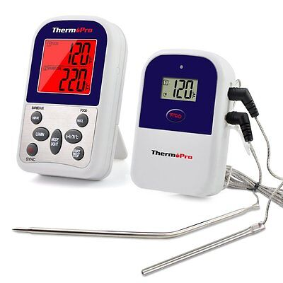 Wireless Remote Dual 2 Probe Meat Thermometer Set For BBQ Smoker Grill Oven
