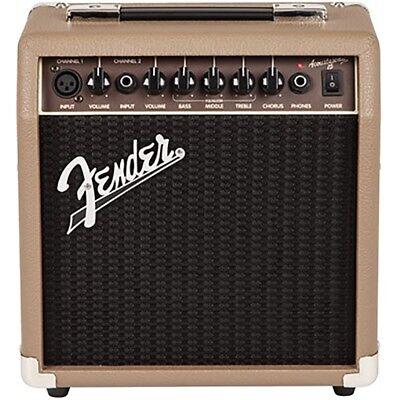 Fender Acoustasonic 15 15W Acoustic Guitar Combo Amplifier Amp Brown/Wheat 120V