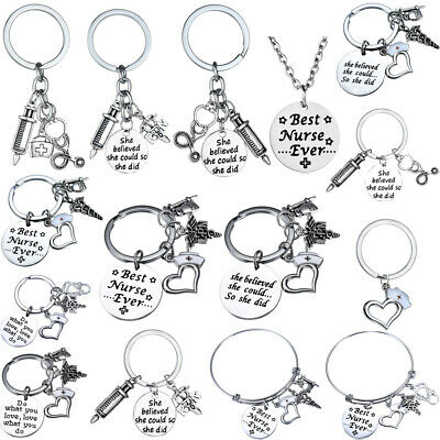 Gifts For Nurse LPN RN Charm Keyring Nurses Present Graduation Key Ring Jewelry (Gifts For Nursing Graduates)