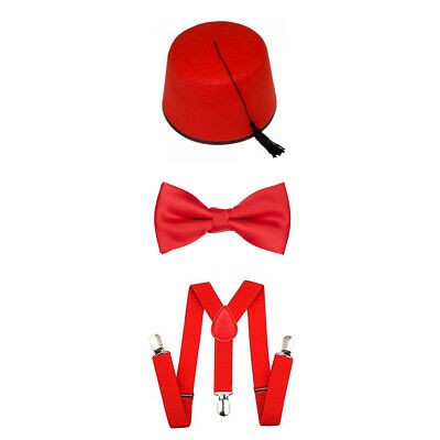 RED FEZ HAT BOW TIE BRACES FANCY DRESS ACCESSORY SET SPACE TIME DOCTOR TRAVELLER (Time Traveller Kostüm)