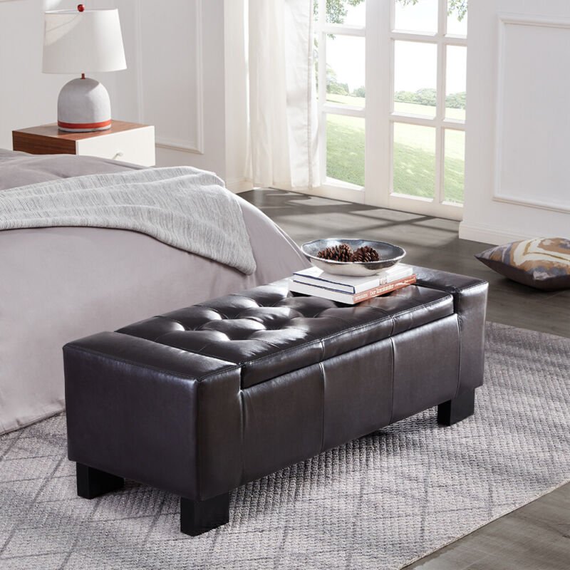 """50"""" Elegant Contemporary Brown Faux Leather Storage Ottoman Bench w/ Tufted Top"""