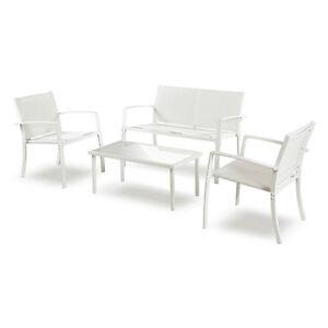 Set salottino divano 2 poltrone tavolino salotto arredo for Arredo giardino bianco