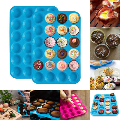 Silicone Mini Muffin 24 Cup Cavity Cookies Cupcake Bakeware Pan Soap Tray Mould