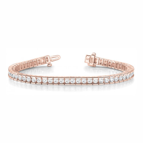 2.4 Carat Si1 White Round Diamond Bracelet In Line Channel Set Style 14k Rg