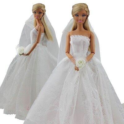 girls toy doll BARBIE wedding white dress + veil princess set outfit dresses BC9