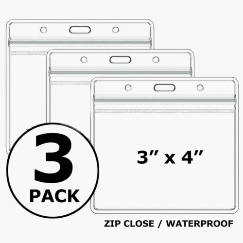 3 Pack CDC Vaccination Card Protector 4x3 Holder Clear Sleeve Waterproof  Zip